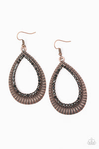 Paparazzi Earrings - Right As REIGN - Copper
