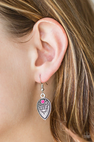Paparazzi  Earrings - Distance PASTURE - Pink