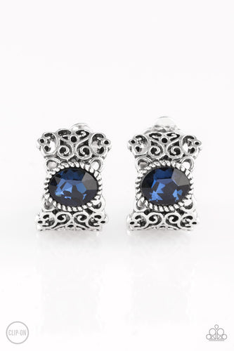 Paparazzi Clip On Earrings - Glamorously Grand Duchess - Blue