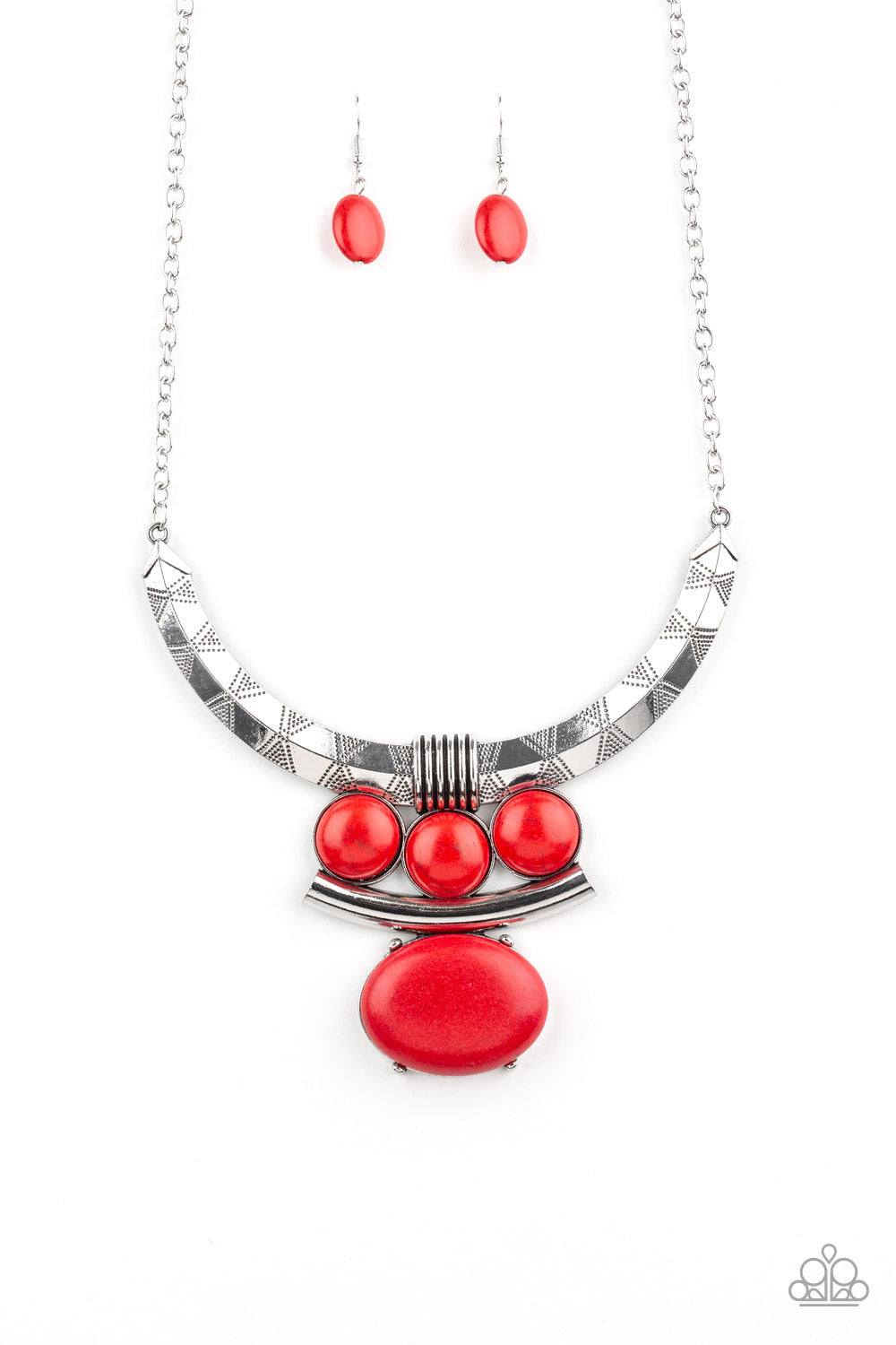 Paparazzi Necklace  - Commander In CHIEFETTE - Red - New Release