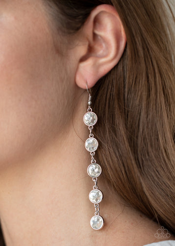Paparazzi Earring - Trickle Down Twinkle - White