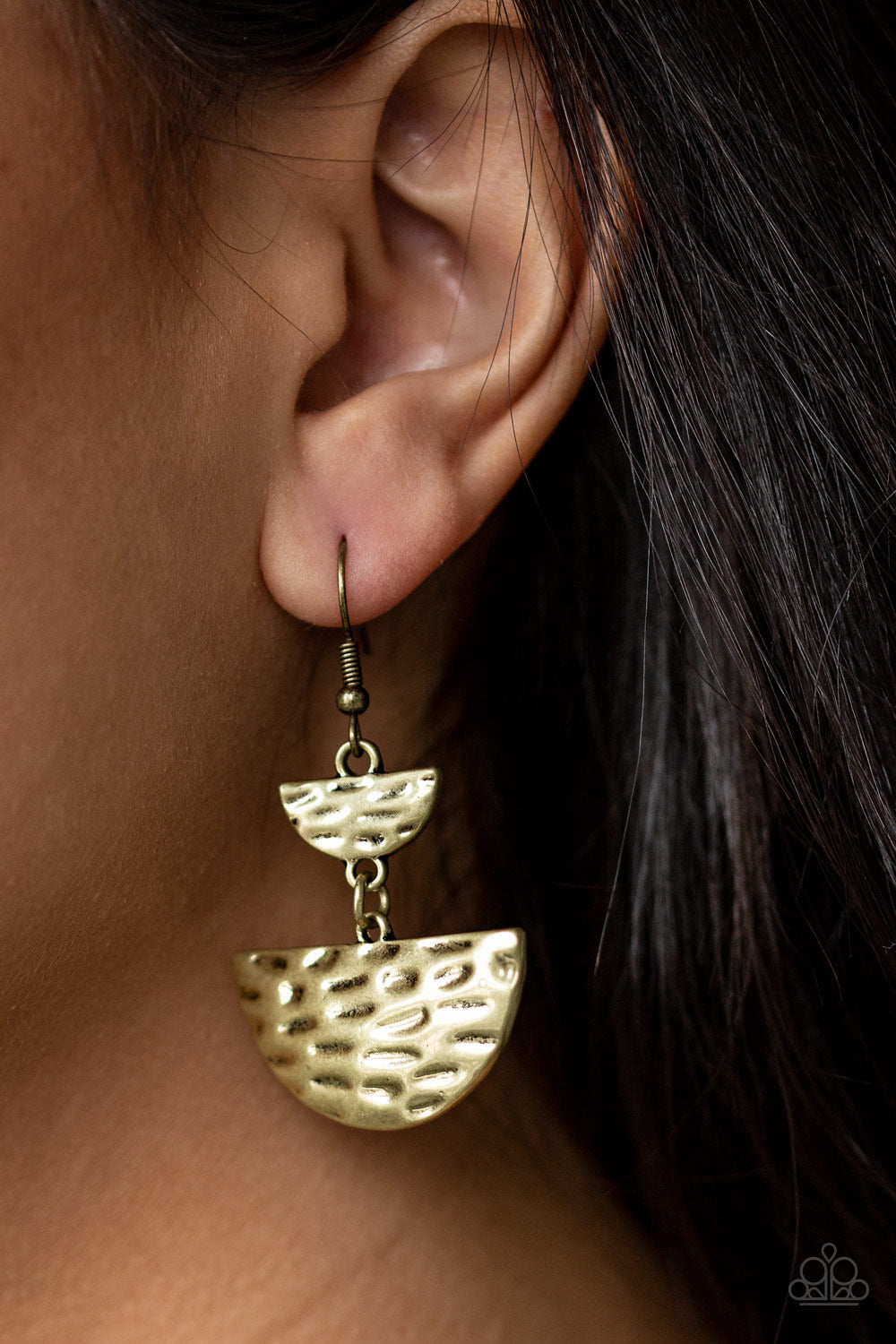 Paparazzi Earring  - Triassic Triangles - Brass