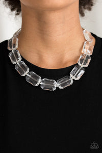 Paparazzi Acrylic  Necklace  - Ice President - White