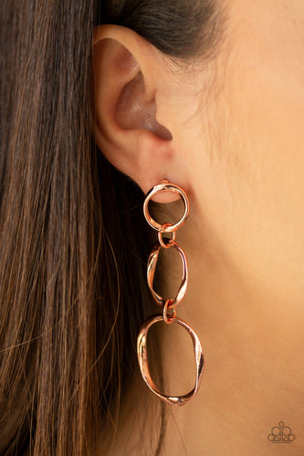 Paparazzi Earring - Three Ring Radiance - Copper