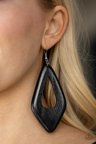 Paparazzi Wooden Earrings - A SHORE Bet - Black