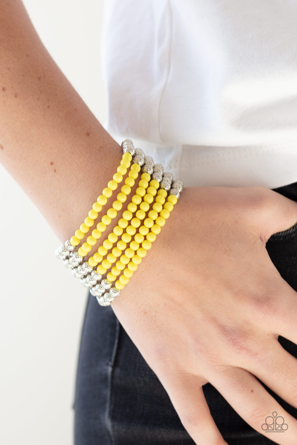 Paparazzi Bracelet  - LAYER It On Thick - Yellow