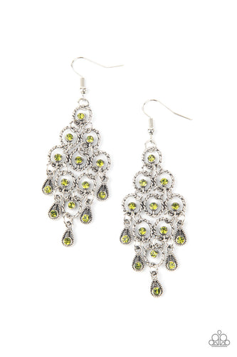 Paparazzi Earring - Chandelier Cameo - Green