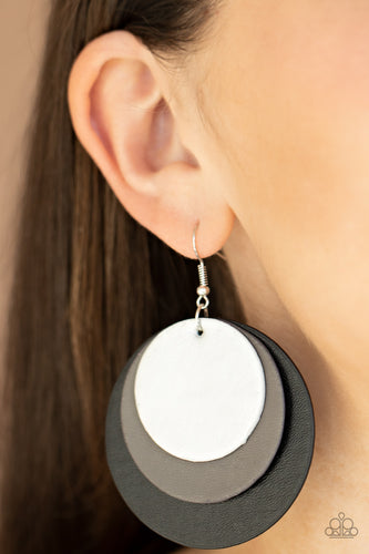 Paparazzi Earring - LEATHER Forecast - Black -New Releases