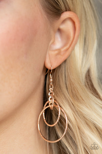 Paparazzi Earring  - Three Ring Couture - Rose Gold