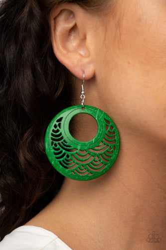 Paparazzi Wooden Earring - Tropical Canopy - Green