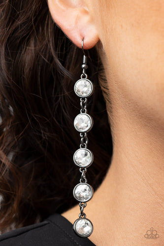 Paparazzi Earring -Trickle Down Twinkle - Black