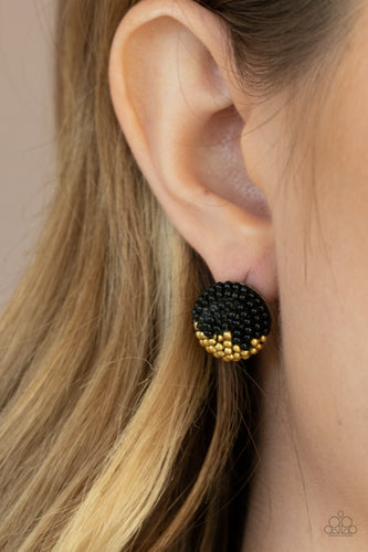 Paparazzi Earring - As Happy As Can BEAD - Black - New Release