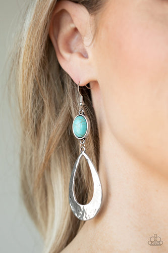 Paparazzi Earring  - Badlands Baby - Blue