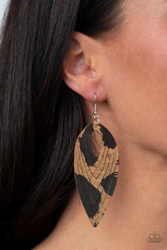 Paparazzi Earring - Cork Cabana - Black - New Release