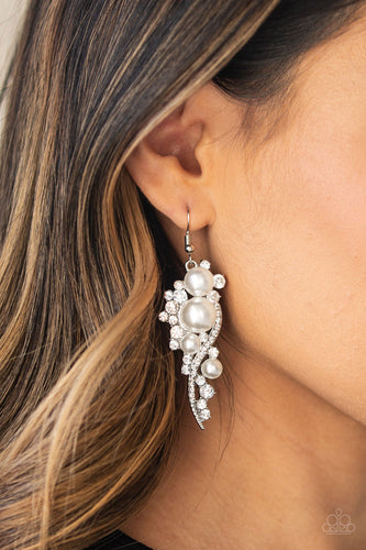 Paparazzi Earring - High-End Elegance - White