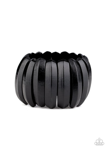 Paparazzi Wooden Bracelet - Colorfully Congo - Black