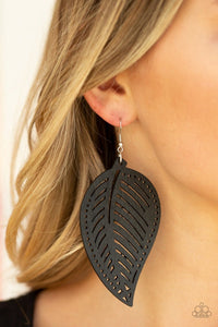 Paparazzic Wooden Earring  - Amazon Zen - Black