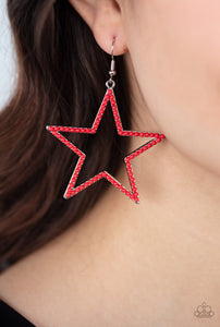 Paparazzi Earring - Count Your Stars - Red -New Release