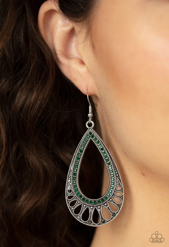 Paparazzi Earring - Royal Fineness - Green