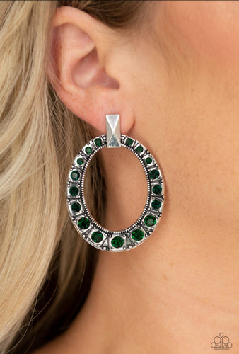 Paparazzi Earring - All For Glow - Green Post