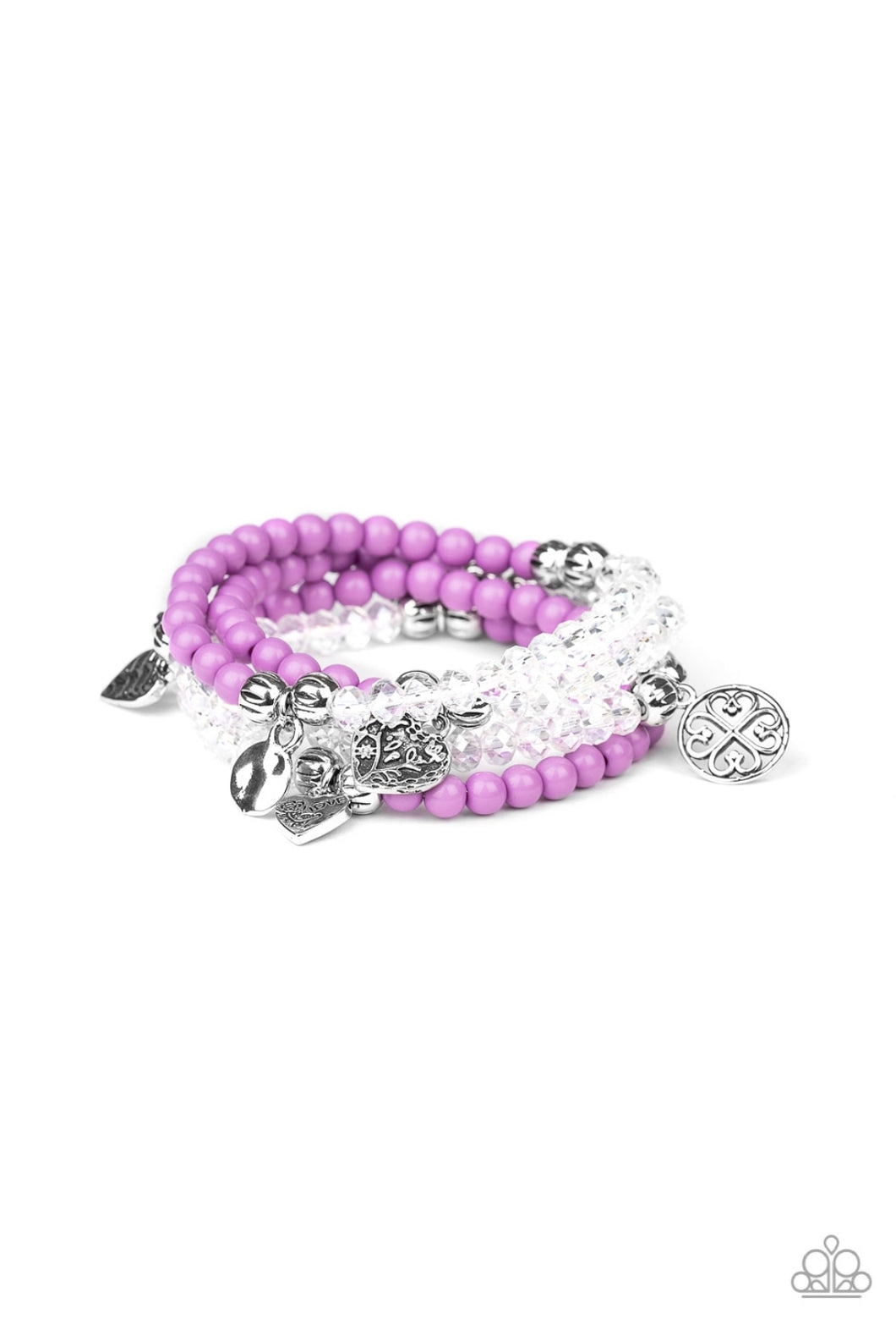 Paparazzi Bracelet  - Colorfully Cupid - White