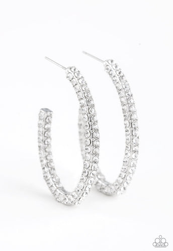 Paparazzi Earring  - Big Winner White Hoop Earring