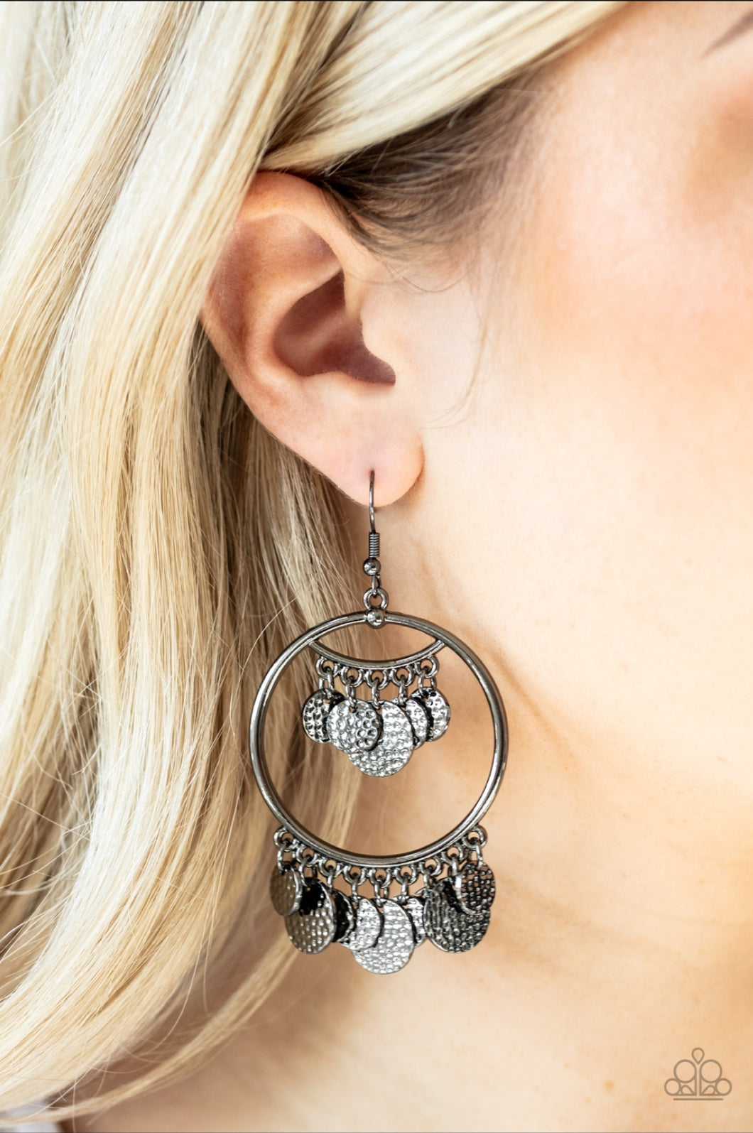 Paparazzi Earring - All - Chime High -Silver