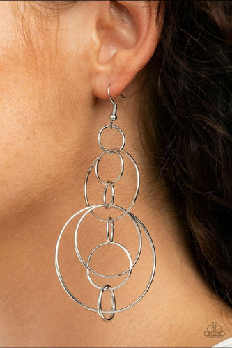 Paparazzi Earring -Running Circles Around You - Silver