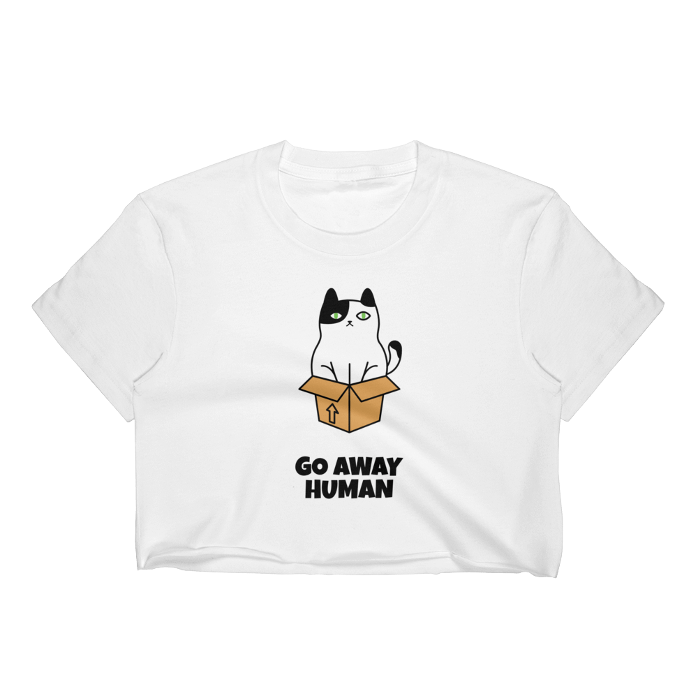 Go Away Human Women's Crop Top Graphic Tshirt Tees