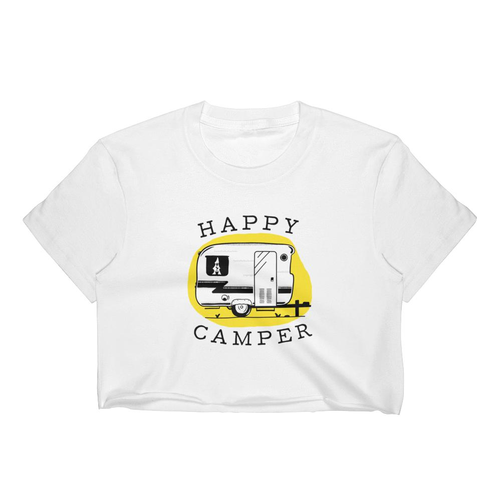 Happy CamperWomen's Crop Top Graphic Tshirt Tees
