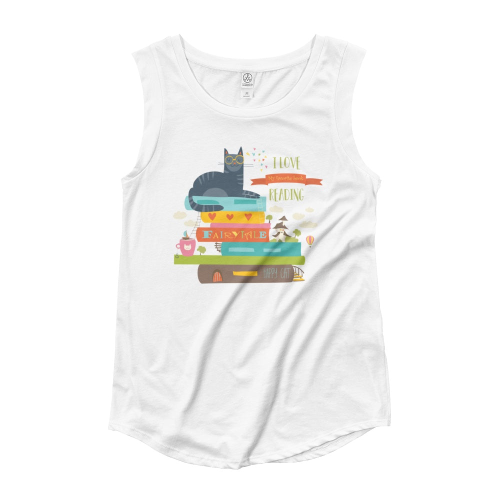 I Love Reading To My Cat Ladies' Cap Sleeve Graphic Tshirt