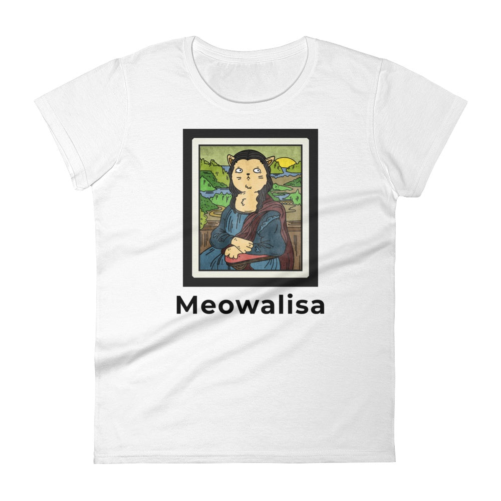 Meowalisa Women's Short Sleeve Graphic Tshirt Tees