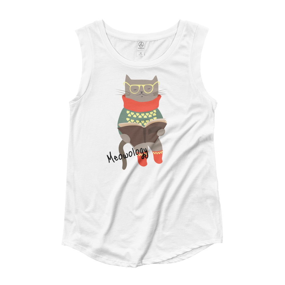 Meowology Ladies' Cap Sleeve Graphic Tshirt