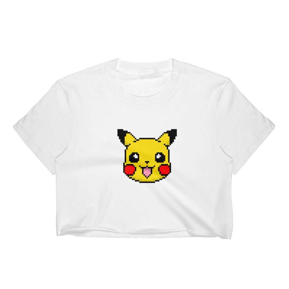 Pikachu Pixel Women's Crop Top Graphic Tshirt Tees