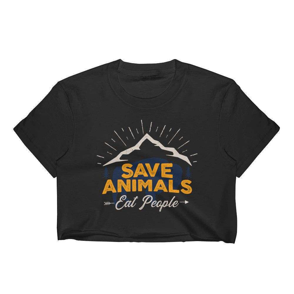 Save Animals Eat Pople Women's Crop Top