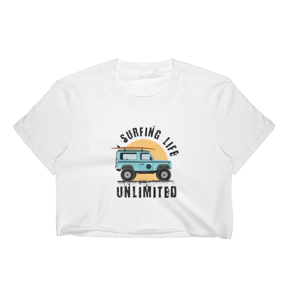 Surfing Life Ulimited Women's Crop Top Graphic Tshirt Tees