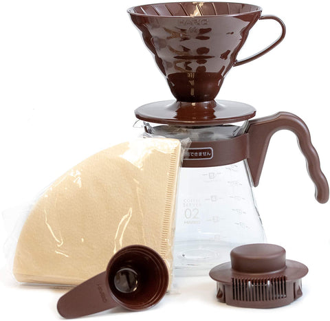 HARIO V60 POUR OVER SET 02- BROWN