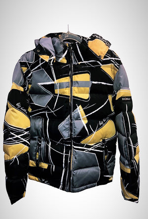 Gold Shattered Retro Puffer Jacket