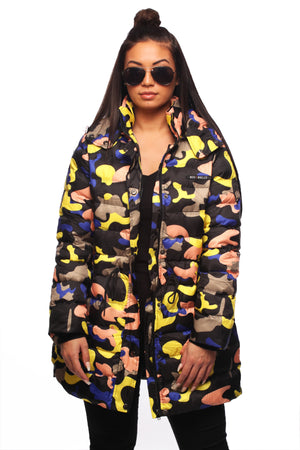 Yellow Pastel Camo Puffer Jacket