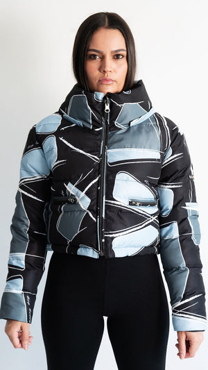 PRE ORDER NOW! - Ice Blue Reversible Cropped Shattered Retro Puffer Jacket