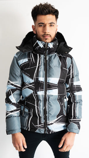 PRE ORDER NOW! - Ice Blue Reversible Shattered Retro Puffer Jacket