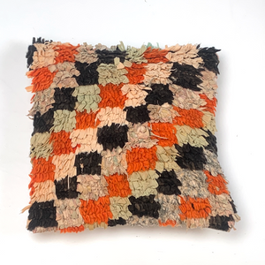 40x40cms Vintage Boucherouite rug cushion cover - kilimfurniture