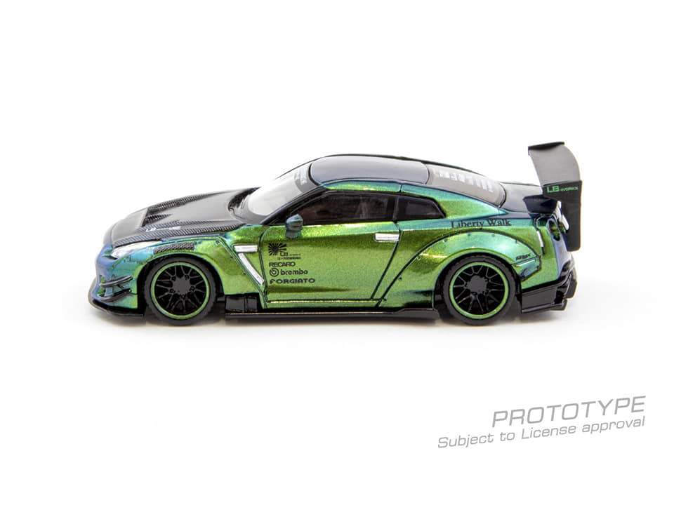 (Pre Order) MiniGT X Tarmac 1/64 LB★WORKS Nissan GT-R R35 Type 2 Rear Wing Version 3 LHD Special Magic Green Color Limited Edition