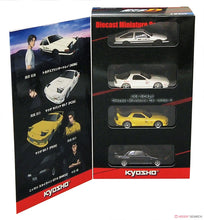 "Load image into Gallery viewer, Kyosho 1:64 ""Initial D"" Set of 4 Cars Toyota Ae86, Mazda Rx-7 (FC)(FD), Nissan Skyline GTR"