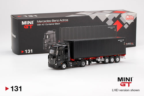 MiniGT 1/64 Mercedes Benz Actros 40' Dry Container Black Limited MIJO USA EXCLUSIVE
