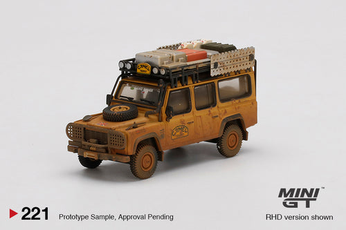 (Pre Order) Mini GT 1:64 Mijo Exclusive USA Land Rover Defender 110 1989 Camel Trophy Winner Team UK Dirty Version Limited Edition
