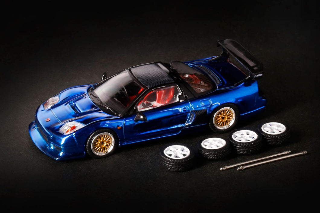 INNO64 1/64 HONDA NSX-R GT (NA2) Blue Chrome W/ Extra Wheels