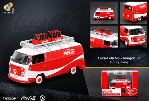 Tiny HK/Greenlight 1:64 Volkswagen Coca Cola T2 bus with Acrylic case