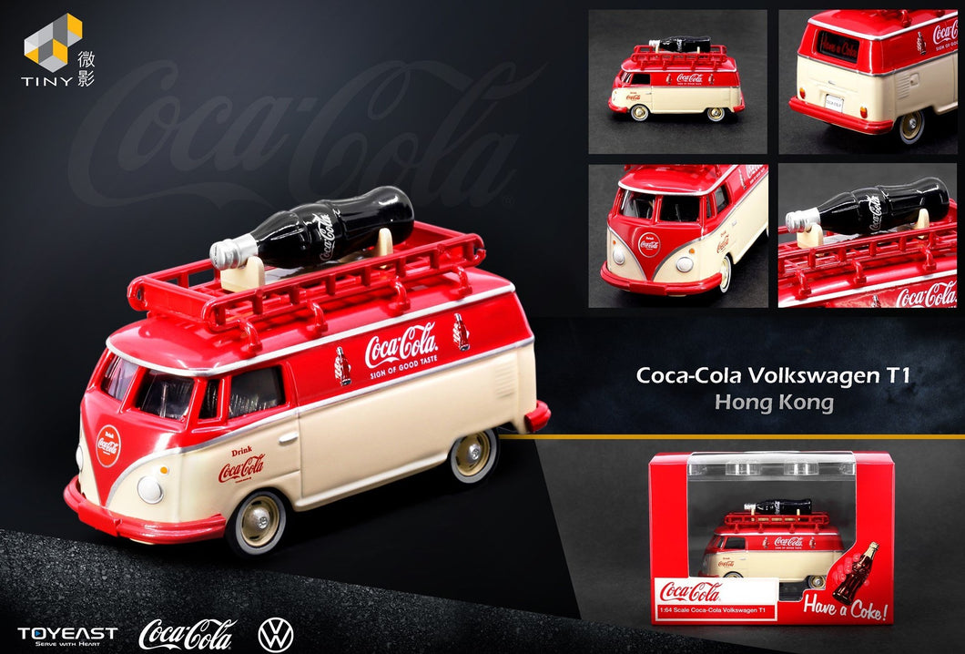 Tiny HK/Greenlight 1:64 Volkswagen Coca Cola T1 bus with Acrylic case