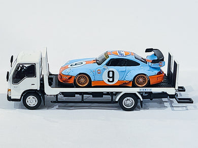 Black Friday Bundle 1:64 Porsche RWB GULF 993 USA Exclusive with YES Tow Truck